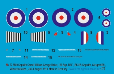 Peddinghaus-Decals 1/72 3809 Sopwith Camel William George Barker, 139 Sqn. RAF,bB6313, (Sopwith, Clerget 9Bf), Villaverla/Italien Juli/August 1918