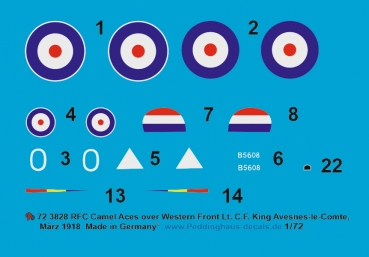 Peddinghaus-Decals 1:72 3828 Sopwith Camel RFC  Lt. C.F. King, No 43 Sqn, Western Front Avesnes-le Comte, März 1918