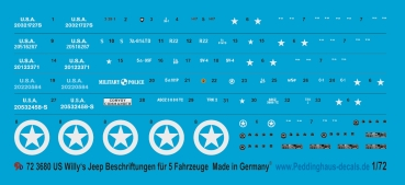Peddinghaus-Decals 1/72 3680 US Militär Willy's Jeep markings for 5 Jeeps