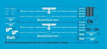 Peddinghaus 1/35 1104  Markings for  BR 52 Trumpeter model