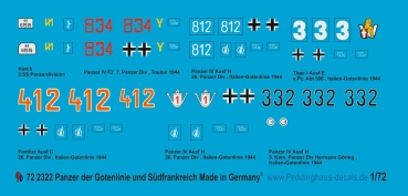 Peddinghaus-Decals 1/72 2322 German tank markings of the Gotenline