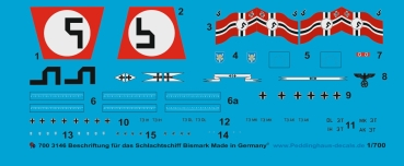 Peddinghaus-Decals 1:700 3146 markings for the german Battleship Bismark