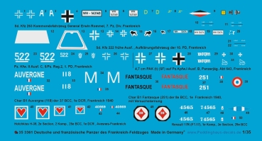 Peddinghaus 1/35 3361 german and french tank markings of the french campaign 1940