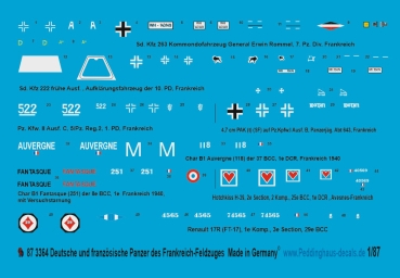 Peddinghaus 1/87 3364 german and french tank markings of the french campaign 1940