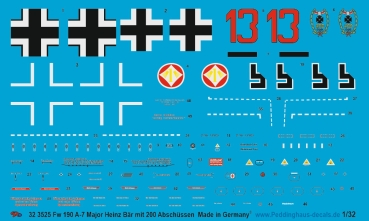 Peddinghaus-Decals 1/32 3525 Fw 190 A-7 Major Heinz Bär with 200 killmarks
