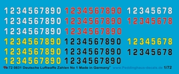 Peddinghaus-Decals 1:144 0832 German airforce numbers No 1