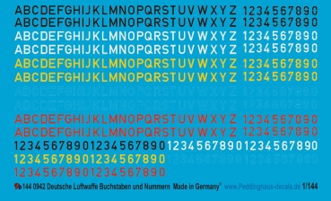 Peddinghaus-Decals 1:144 0942 german airforce letters