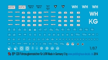 Peddinghaus 1/87 1220 Numberplates for transport trucks and tactical markings