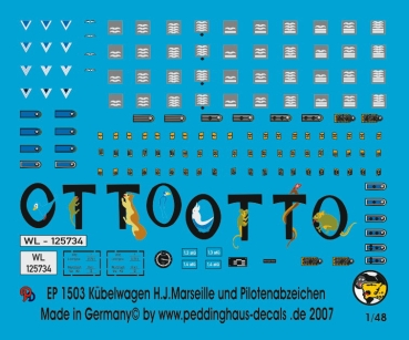 Peddinghaus-Decals 1/48 1503 Kübelwagen H. J. Marseille and german pilot uniform insignia