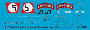 Peddinghaus 1/400 2041  Battleship Bismark markings