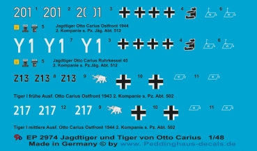 Peddinghaus-Decals 1/48 2974 Jagdtiger and Tiger I of Otto Carius