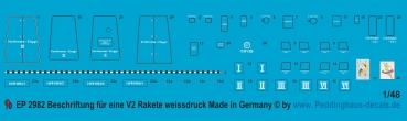 Peddinghaus-Decals 1/48 2982 markings for a V 2 rocket in black