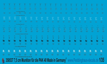 Peddinghaus 1/35 0537  Stencils for 7,5 cm Pak 40 ammo