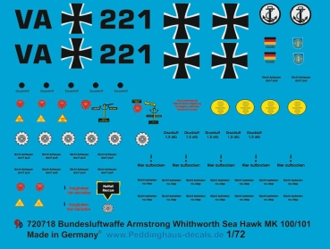 Peddinghaus-Decals 1/72 0718 Markings for german Bundesmarine Sea Hawk