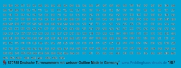Peddinghaus 1/87 0755 German turret numbers black with white outline