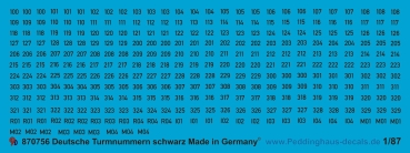 Peddinghaus 1/87 0756 German turret numbers black