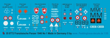Peddinghaus 1/35 0772 French tank markings 1939-40 No 1