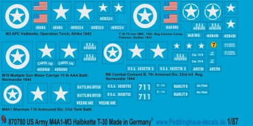 Peddinghaus 1/87 0780 US Army markings M3- M8 and Sherman M4A1