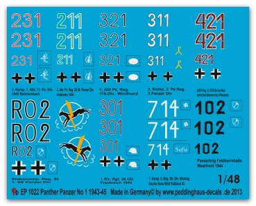 Peddinghaus-Decals 1/48 1022 8 different  Panther Markings