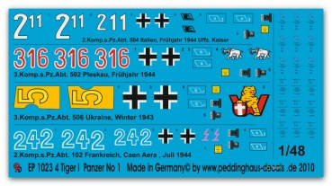 Peddinghaus-Decals 1/48 1023 Tiger tank markings No 1