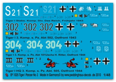 Peddinghaus-Decals 1/48 1025 Tiger tank markings No 3