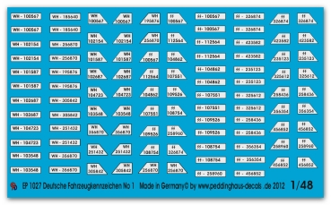 Peddinghaus-Decals 1/48 1027 german number plates