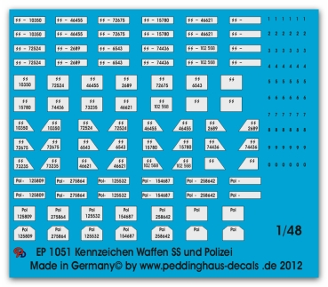 Peddinghaus-Decals 1/48 1051 Numberplates for german police and Waffen SS