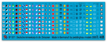 Peddinghaus-Decals 1/48 1071 german Armeecorps and div. Divisonsmarkings