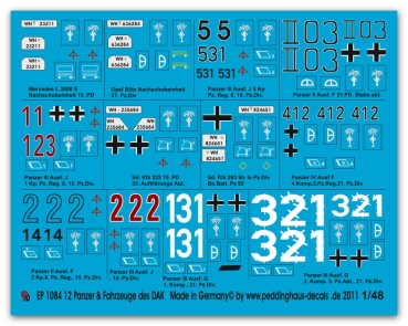 Peddinghaus-Decals 1/48 1084 12 tanks and vehicle of the DAK