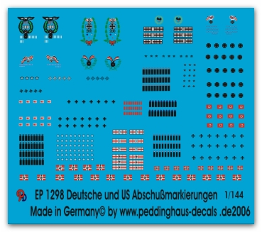 Peddinghaus-Decals 1:144 1298 german and US killmarkings for planes
