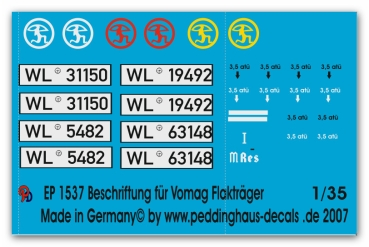 Peddinghaus 1/35 1537  markings for Vomag 8,8 cm gun carrier Flak Reg. 42
