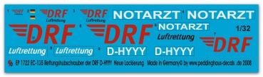 Peddinghaus 1/32 1722  EC -135 Rescuehelicopter of the DRF D-HYYY new DRF Logo