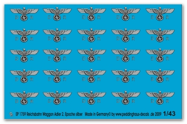 Peddinghaus-Decals 1:43  1759  Reichsbahn waggoneagle 2. Epoche late version silver print