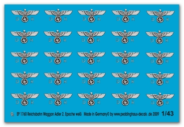 Peddinghaus-Decals 1:43  1760  Reichsbahn waggoneagle 2. Epoche late version white print