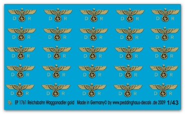Peddinghaus-Decals 1:43  1761  Reichsbahn waggoneagle 2. Epoche late version gold print