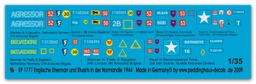 Peddinghaus-Decals 1:35 1777  6 english Shermans and 2 Stuart tanks in Normandy 1944