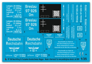 Peddinghaus 1/35 1860  markings for Trumpeter Gondola Breslau Waggon