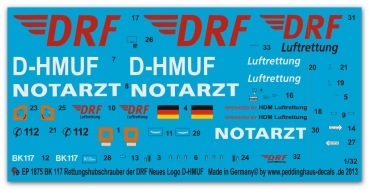 Peddinghaus 1/32 1875  Bk 117 Rescue helicopter with the new DRF Logo D-HMUF