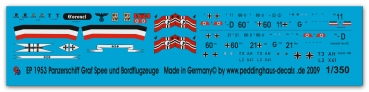 Peddinghaus 1/350 1953  Pocketbattleship Graf Spee markings and boardplanes