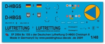 Peddinghaus-Decals 1/48 2006 Bo 105s rescue helicopter of the german Luftrettung D-HBGS Christoph 8