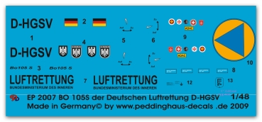Peddinghaus-Decals 1/48 2007 Bo 105s rescue helicopter of the german Luftrettung D-HBGS Christoph 8