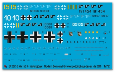 Peddinghaus-Decals 1/72 2075 Markings for 6 Me 163 rocketfighters