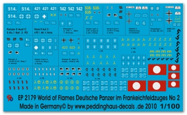 Peddinghaus-Decals 1/100 2179 World of Flames german tanks in france No 2