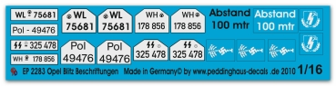 Peddinghaus 1/16 2283 Opel Blitz markings