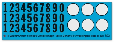 2646 Numbers and white circles for  Carerra Slotcars