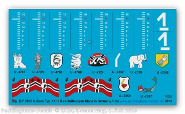 Peddinghaus 1/35 2805  markings for the german submarine type XX III