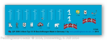 Peddinghaus 1/144 2806 markings for the german submarine typ XX III
