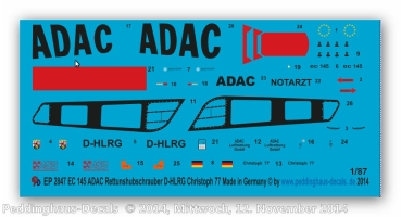 Peddinghaus 1/87 2847 ADAC rescouhelicopter D-HLRG
