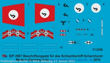 Peddinghaus 1/1250 2907 markings for the german battleship Scharnhorst