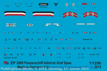 Peddinghaus 1/1250 2909 markings for the pocket-battle ship Admiral Graf Spee